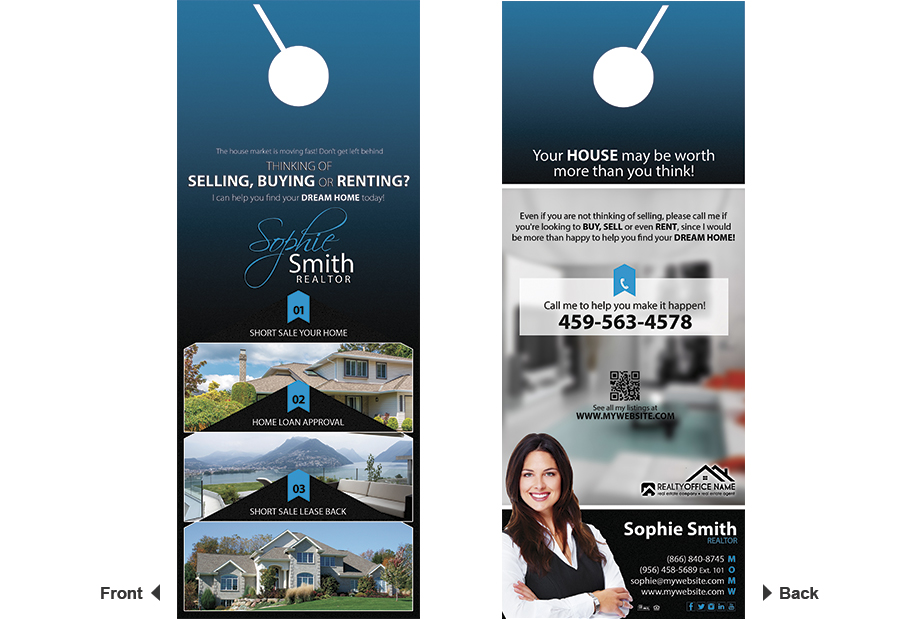 Real Estate Door Hangers | Real Estate Agent Door Hangers, Real Estate  Office Door Hangers ...
