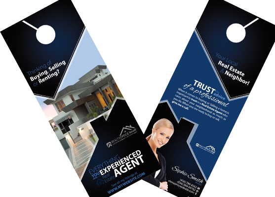 Real Estate Door Hangers | Real Estate Agent Door Hangers, Real Estate Office Door Hangers, Realtor Door Hangers, Real Estate Broker Door Hangers