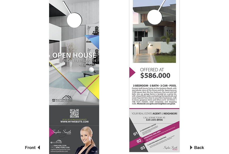 Real Estate Door Hanger Rip Cards Template 07 | Door Hanger Rip Cards