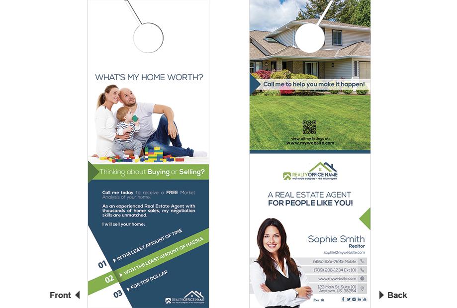 Real Estate Door Hangers, Real Estate Agent Door Hangers, Real Estate Office Door Hangers, Realtor Door Hangers, Real Estate Broker Door Hangers