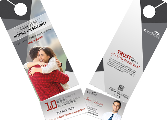 Real Estate Door Hanger Rip Cards | Real Estate Rip Door Hangers, Door hangers Business Card Slits, Door Hanger Business Card Holder, Tear Off Business Card