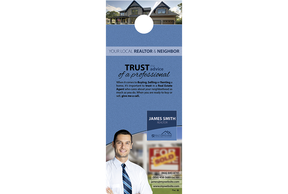 Real Estate Door Hangers, Real Estate Agent Door Hangers, Real Estate Office Door Hangers, Realtor Door Hangers, Real Estate Broker Door Hangers