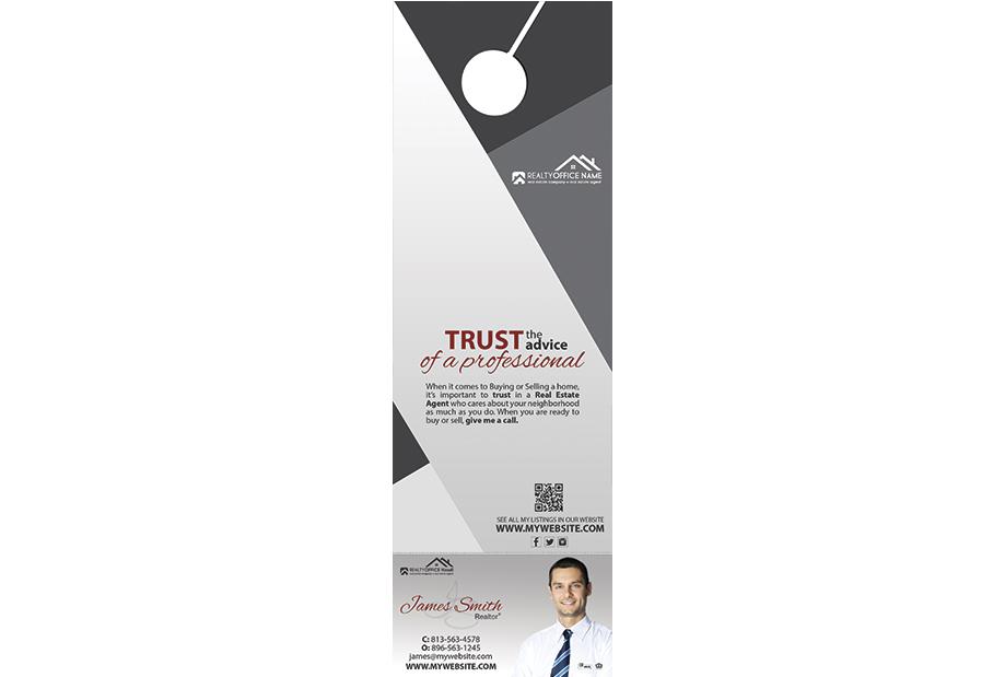 Real Estate Rip Door Hangers, Custom Rip Hanger Printing, Door Hanger with Rip Card Printing, Rip Card Hangers, Door Hangers with Perforated Business Cards