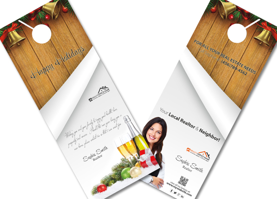 door hanger design real estate. Real Estate Christmas Door Hangers | Realtor Hangers, Agent Hanger Design