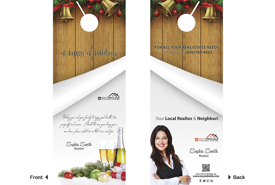 Real Estate Christmas Door Hangers Realtor Christmas Door Hanger Tag