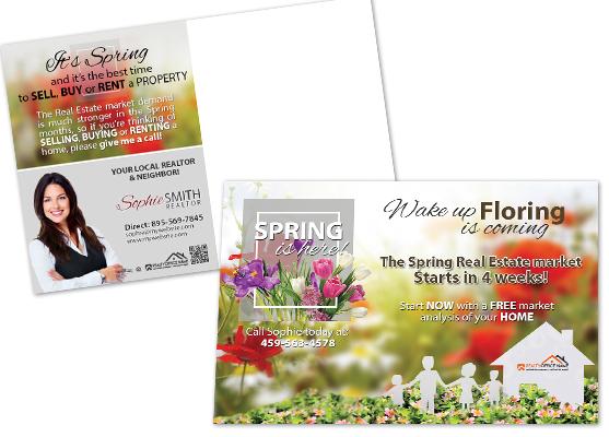 Real Estate Seasonal Postcards, Spring Season Postcards, Summer Season Postcards, Fall Season Postcards, Winter Season Postcards, Realtor Seasonal Postcards