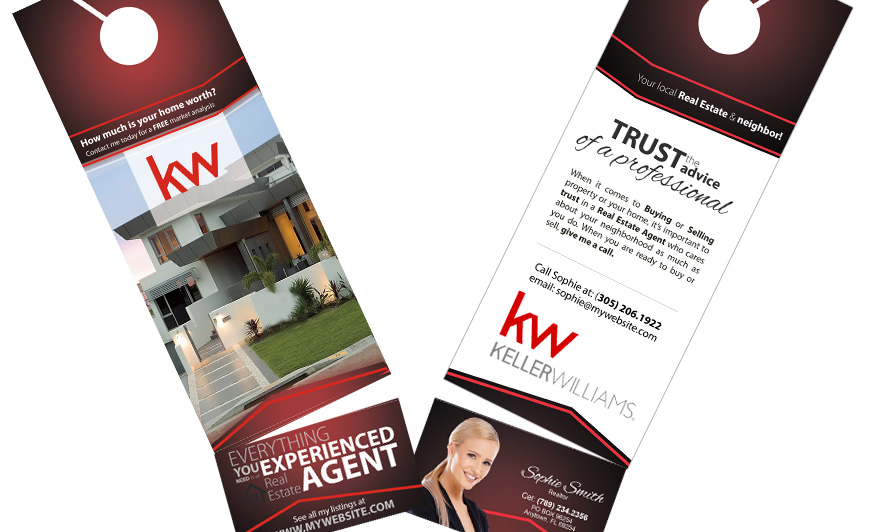Keller Williams Door Hangers Business Card S Rip Cards Holder And