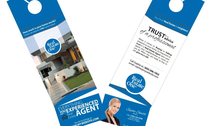 Real estate one door hangers business card slits reheart Images