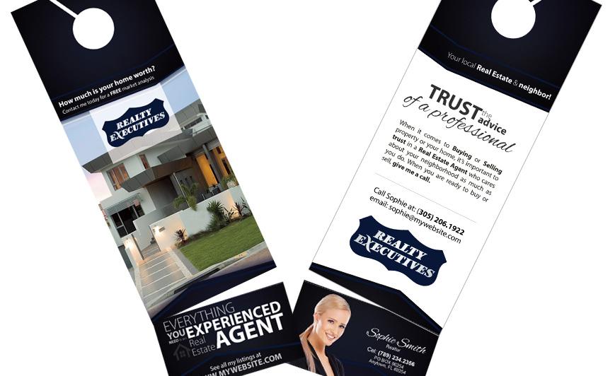 Realty executives door hangers business card slits for Realty executives business cards