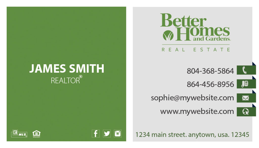 Better homes and gardens business cards 11 templates for Better homes and gardens customer service telephone number