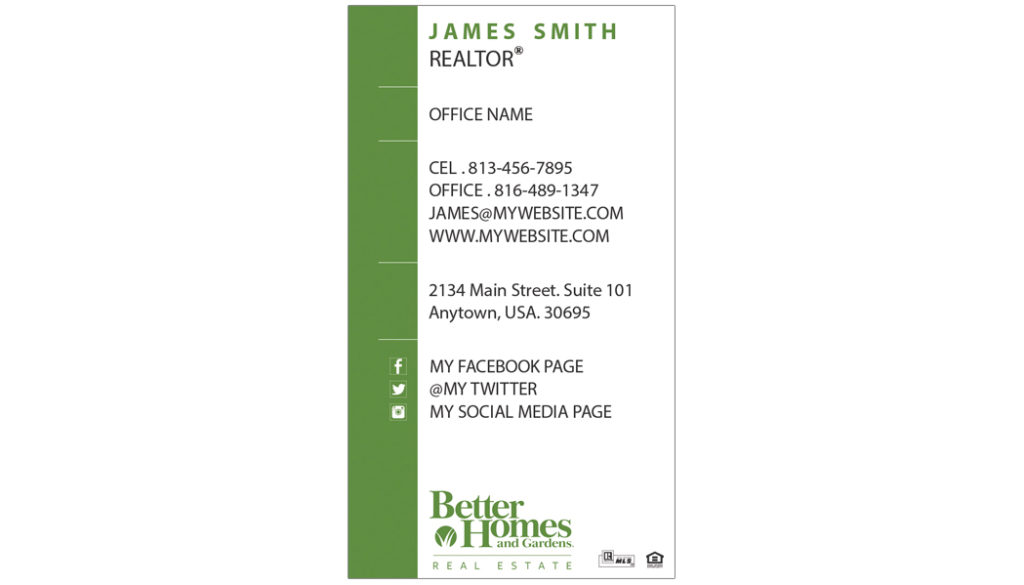 Better homes and gardens business cards 20 templates for Bhg customer service phone number