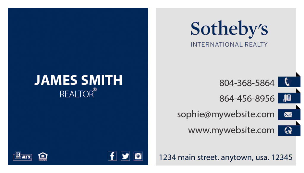 Sothebys Realty Business Cards 20 | Sothebys Realty Card Template