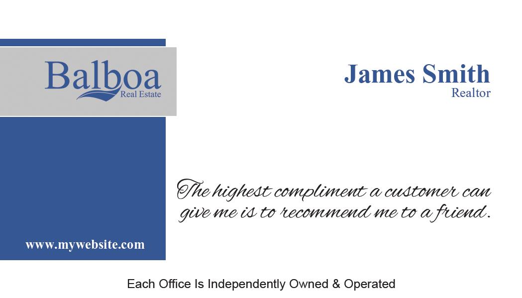 Balboa Real Estate Business Cards 02 | Balboa Business Card Template