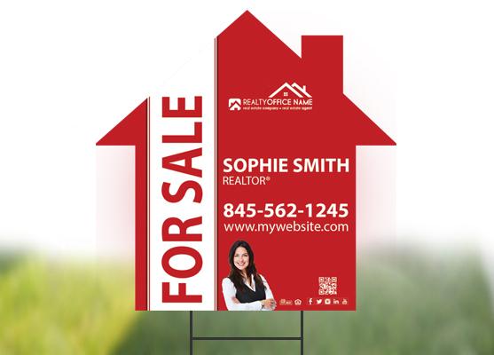 Real Estate Custom Shaped Yard Signs | Signs Cut to Custom Shape, Custom House Shape Yard Signs, Custom Arrow Shape Yard Signs, Custom Circle Shape Signs