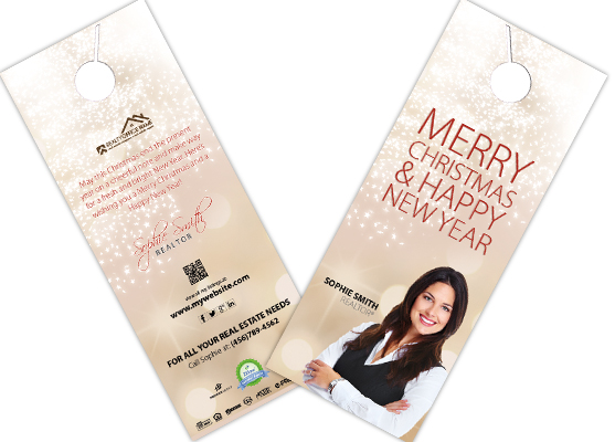 Real Estate Holiday Door Hangers | Realtor Holiday Door Hangers, Real Estate Agent Holiday Door Hangers, Holiday Door Hangers, Broker Holiday Door Hangers