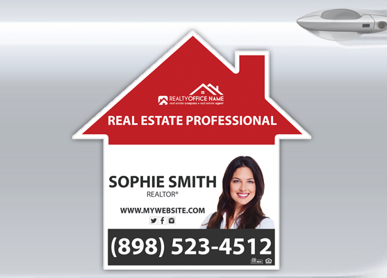 House Shaped Car Magnets | House Shaped Magnetic Car Signs, House Shaped Magnetic Real Estate Signs, Realtor House Shaped Car Magnets