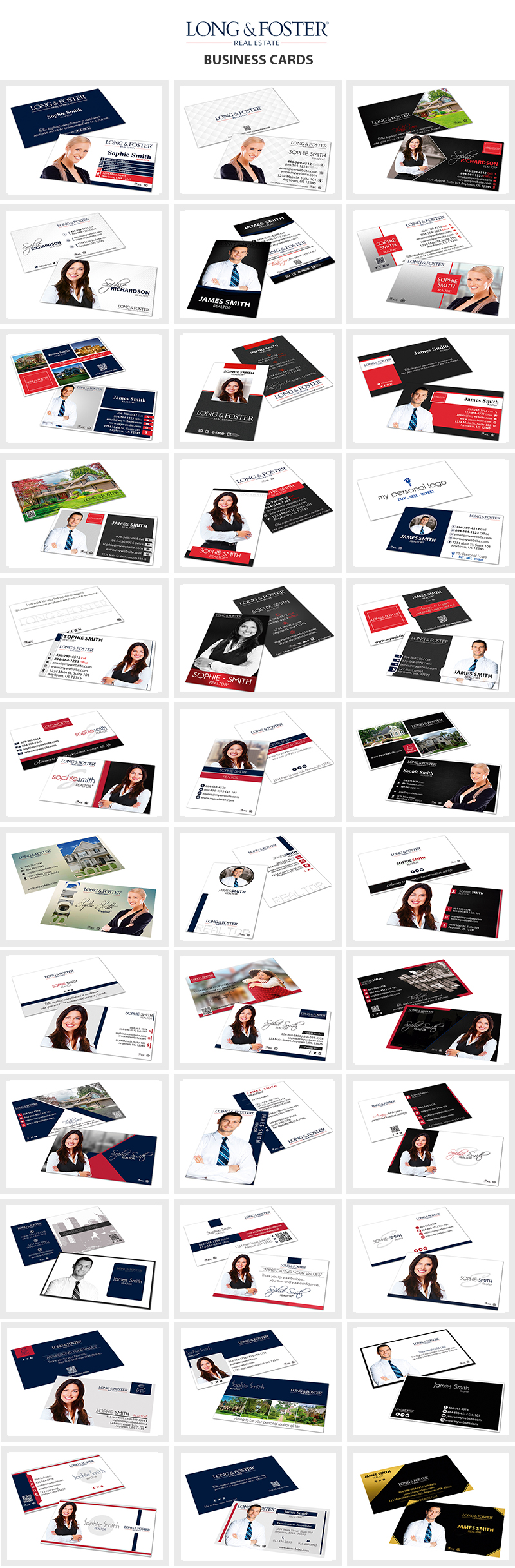 Long and Foster Real Estate Business Cards, Long and Foster Realtor Business Cards, Long and Foster Agent Business Cards, Long and Foster Broker Business Cards, Long and Foster Office Business Cards