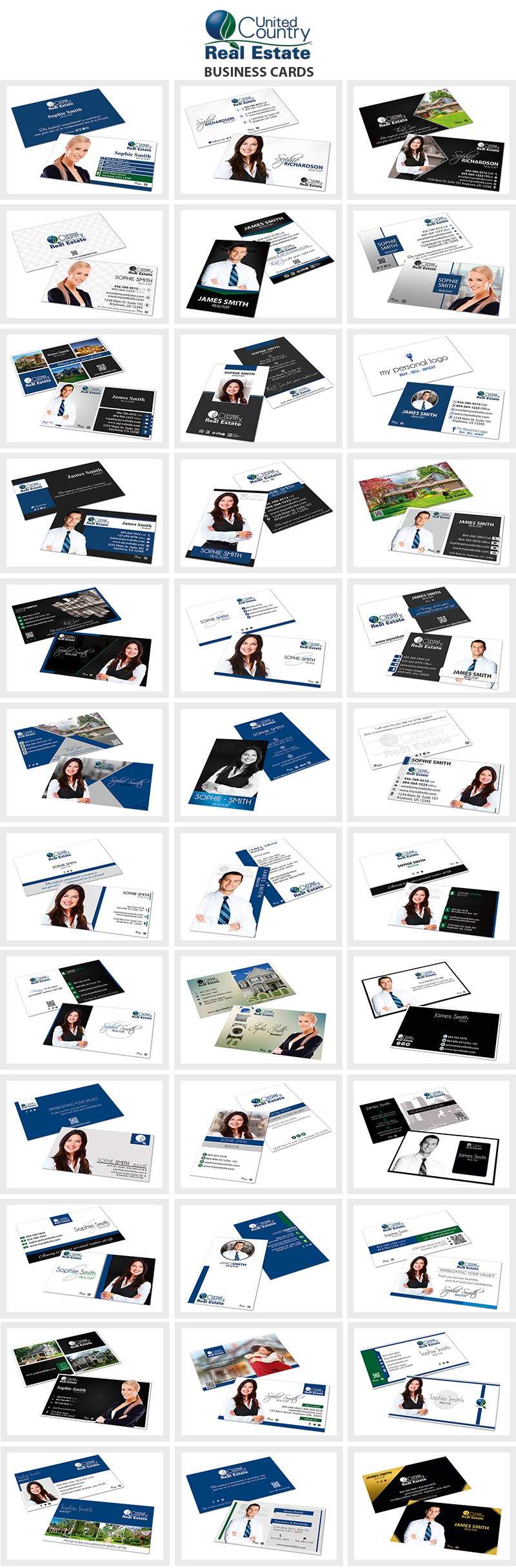 United Country Real Estate Business Cards, United Country Realtor Business Cards, United Country Agent Business Cards, United Country Broker Business Cards, United Country Office Business Cards