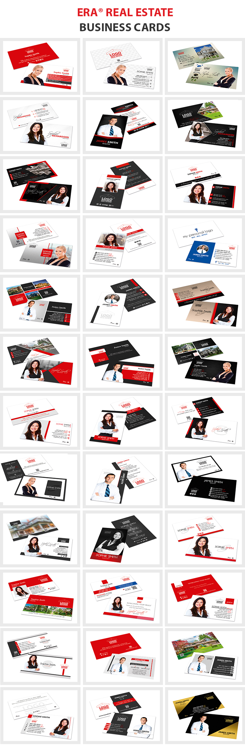 ERA Real Estate Business Cards, ERA Realtor Business Cards, ERA Broker Business Cards, ERA Real Estate Agent Business Cards, ERA Real Estate Office Business Cards