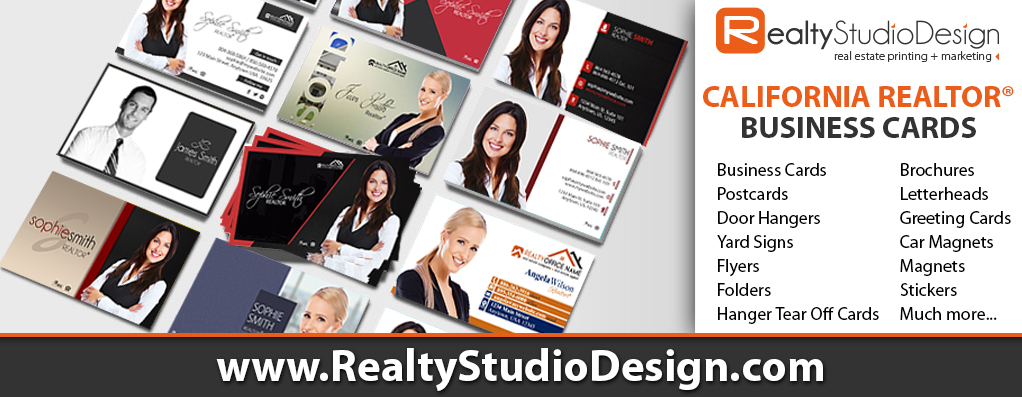 California Realtor Business Cards, California Real Estate Cards, California Realtor Cards, California Real Estate Agent Cards, California Real Estate Office Cards
