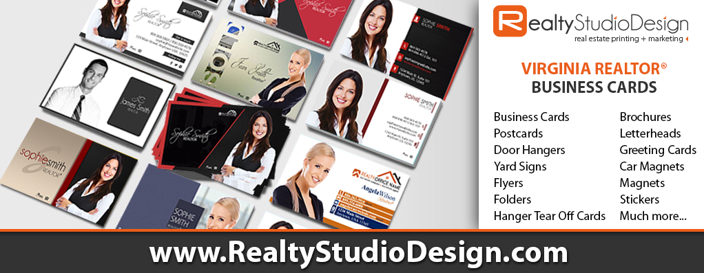 Virginia Realtor Business Cards, Virginia Real Estate Cards, Virginia Broker Business Cards, Virginia Realtor Cards, Virginia Real Estate Agent Cards, Virginia Real Estate Office Cards